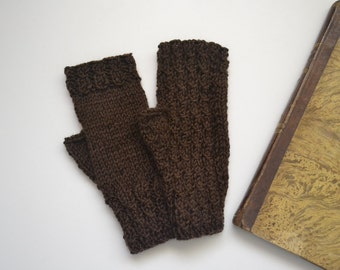Fingerless gloves in brown wool, knit mittens for women