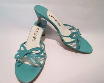 Vintage Leather Strappy Heels/Sandals by Moda Spana, Sz 8M