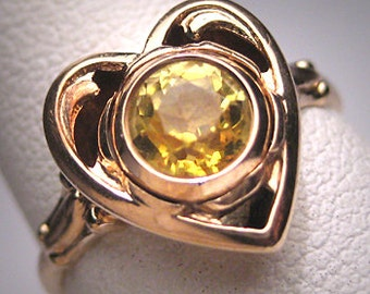 Antique Yellow Zircon Wedding Ring Vintage Art Deco 20s