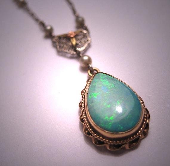 antique australian opal necklace vintage 14k gold