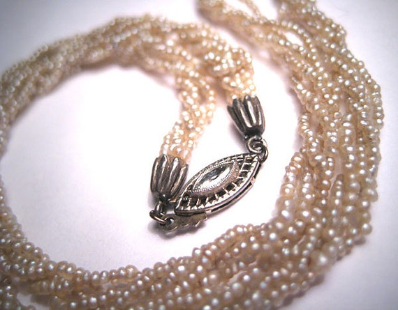 Rare Antique Victorian Natural Seed Pearl Diamond Necklace