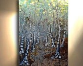 Tree Painting Vertical Hand painted Painting Aspen Birch Aqua Brown Pewter Gold Blue metallic Artwork Fine art canvas by OTO