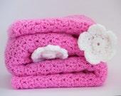 Christmas baby crochet blanket , crochet baby blanket , baby girl pink afghan , pink blanket