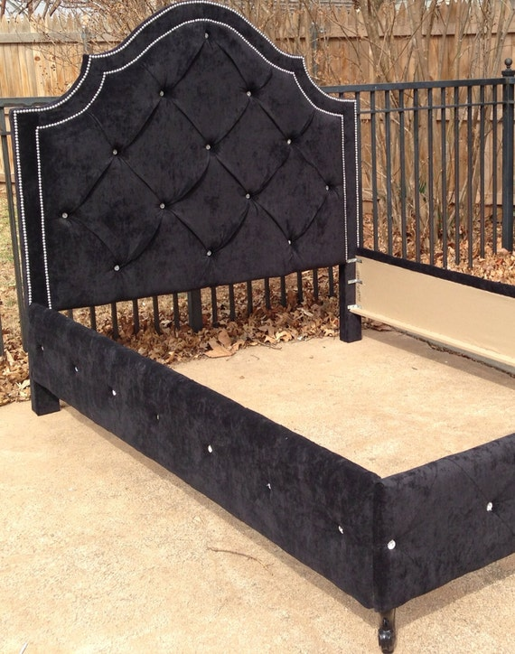 Custom Order Cassidy Queen Fully Upholstered Bed Rhinestones