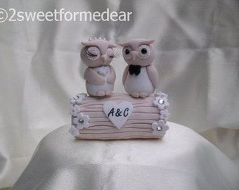 Owl and log wedding cake topper