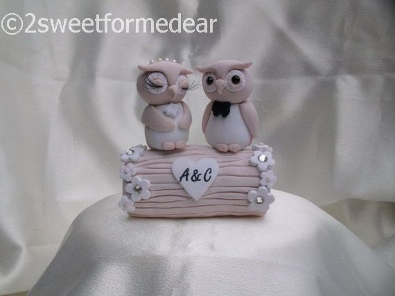 Owl and log wedding cake topper