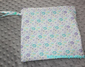 Clearance*** Wet Bag 10 x 10 - Lavender Flowers  - Ready to Ship