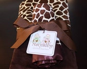 30% OFF 2pc Minky Blanket SET -- Stroller with Security Blanket in Cream & Brown Giraffe Minky with Brown Satin Trim