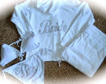 Bridal 2 piece Bikini and White Bride hoodie Package.  Bride Rhinestone swimsuit and Cotton Set. Wedding Party bikini Sets.