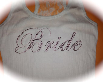 pink rhinestone bride tank top / bride bling tank / bridal shower gift / bride lace shirt / bride to be clothing / just married / weddings