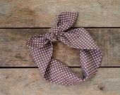 brown and white polka dot headscarf,  retro tie up headband, adjustable, summer and fall fashion, knotted headband