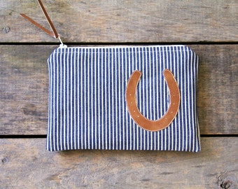 horseshoe zipper pouch / blue and cream ticking / country western / makeup bag / stripes / spring summer fall fashion / rustic