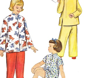 1950s Girl's Cheongsam Pajamas Pattern/ Vintage 50s McCalls Girl's Pajamas in Two Lengths Sewing Pattern 9732/ Size 12