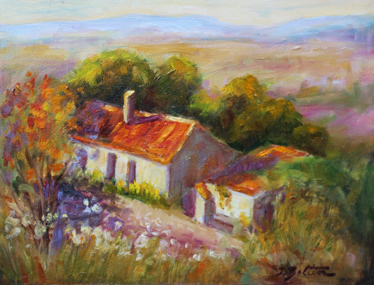 Old country farm house in spain painting by ingridspaintings for Oil paintings of houses
