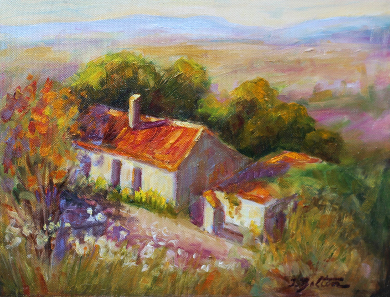 Old country farm house in spain painting by ingridspaintings for Oil paintings for the home