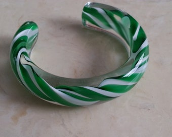 Vintage Hand Made Clear Glass With Green and White Twist Cuff Bracelet