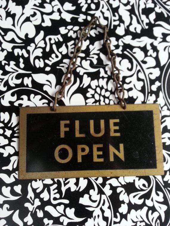 vintage flue open flue closed sign home decor by