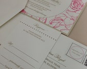 Rose Patterned Wedding Invitation Suite