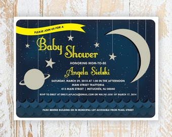 OVER THE MOON - Space Themed Baby Shower Invitations, Unisex, Retro, and Unique