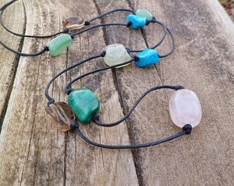 Gemstones necklace. Turquoise, rose quartz, green agate, rough prehnite malachite, smoky quartz. Mineral necklace.
