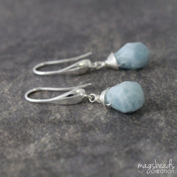 Drop Aquamarine Earrings