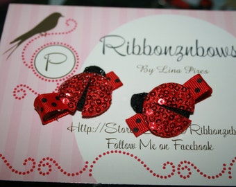 Red and Black Polka Dot 3-d Sequin Lady Bug Hair Clips