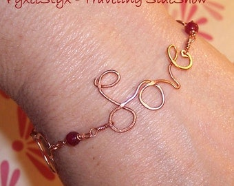 Love Bracelet - Ruby Jade, Copper hearts, red gemstone - Love Letter by PyxeeStyx, SRAJD