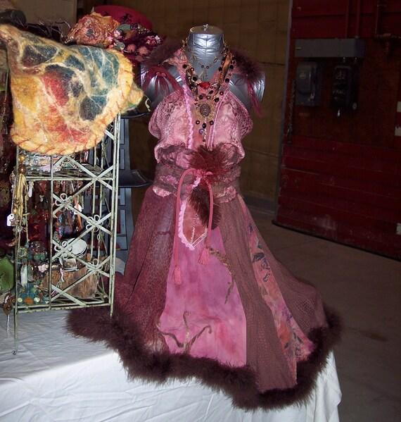 elegant 1940s vixen style upcycled silk swing dress