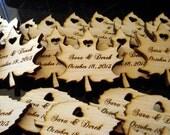 225 Wood Leaf Wedding Favors Personalized