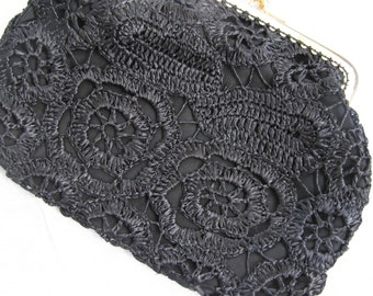 Vintage Black Crocheted Clutch Purse from 1960s