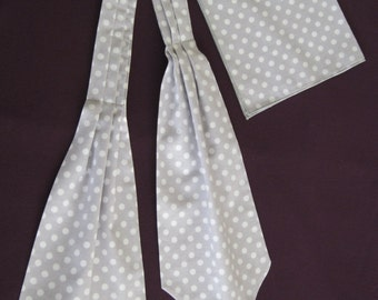 Ascot Tie Cravat.& pocket square. cotton.light gray white dots