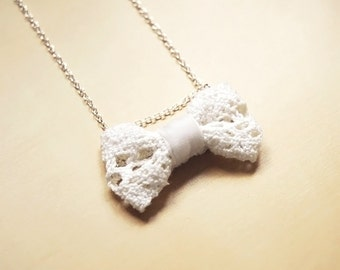 Cute White Lace Bow Sterling Silver Handmade Necklace
