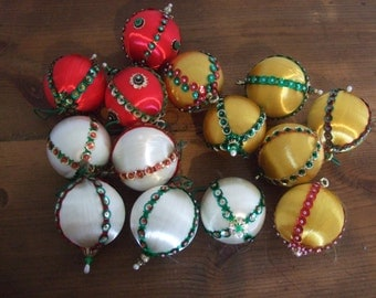 Vintage Silk Ball Ornaments with Beaded Embellishments