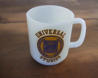 Vintage Universal Studios Mug Glasbake Milk Glass