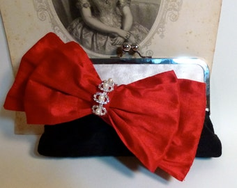 Bridesmaid Clutch | Bridal Clutch | Wedding | Black And White Silk | Red Bow |  READY TO SHIP | Customize