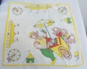 Vintage Child's Hankerchief bears at the fair design, yellow, red, green