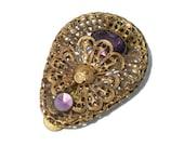 Vintage Dress Clip with Ornate Brass Filigree Floral Design and Dark Purple Rhinestones - Vintage Costume Jewelry 30s
