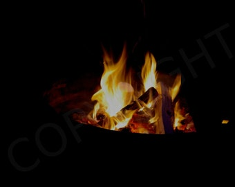 Print or Greeting Card, Minimalist, Abstract Wall Art, Campfire, Flames, Photography Print, Camping, Burning Fire, Gift dea, Wall Decor