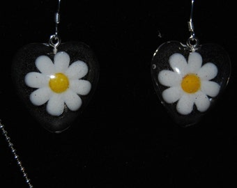 Daisy earrings and Lady bug necklace cute set