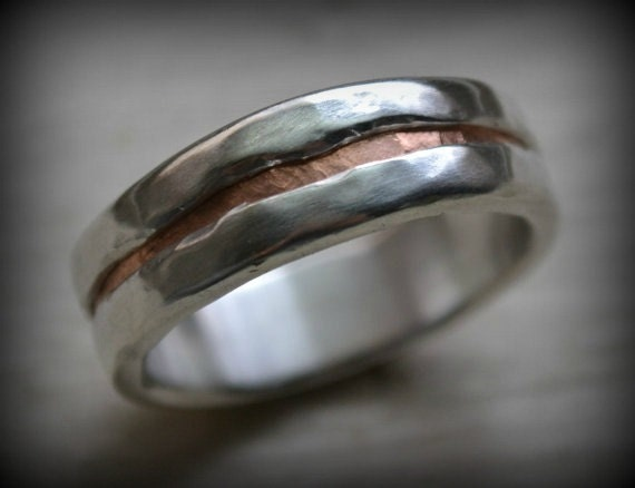 Mens Wedding Band Rustic Fine Silver And 14k Rose Gold Ring