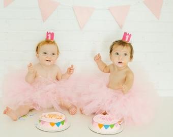 Birthday Tutu- Cake Smash Tutu- Girls Tutu- Baby- Light Pink tutu- Tutu Skirt- Available In Size 0-24 Months