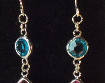 Pink And Turquoise Dangle Earrings