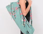 Yoga Bag in Teal Cherry Blossom with a Zipper Pocket- Free Shipping