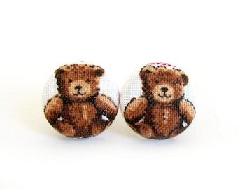 SALE Tiny bear earrings - teddybear fabric earrings - kawaii button earrings - children kids teddy stud earrings