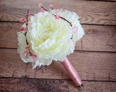 Ivory Peony Wedding Bouquet - Petite Ivory and Cherry Blossom Wedding Bouquet