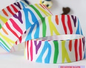CLEARANCE SALE*FREE Shipping ~ 3 yards x 22mm  Grosgrain Ribbon,Colorful  Animal Prints Ribbon Bow Sewing Scrapbooking Hair Bows