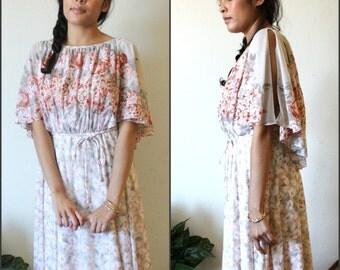 Vintage Floral Sz S/M Flower Power 60s 70s Dress