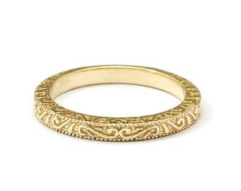 Scrolls Handmade Yellow Gold Vintage Wedding Ring