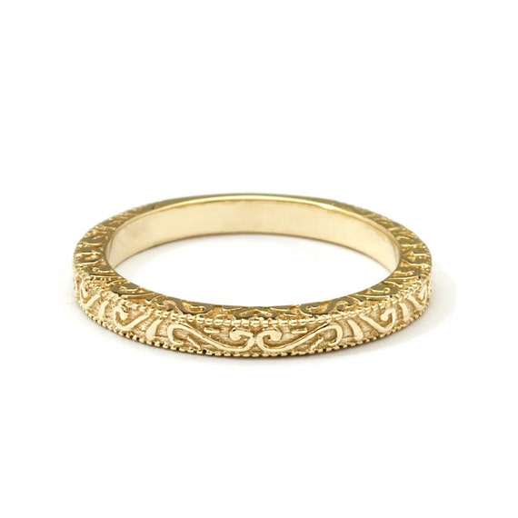 Antique Scroll Bands: Scrolls Handmade Yellow Gold Vintage Wedding Ring