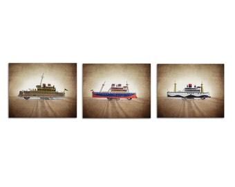 Set of 3 Vintage Tin Ships, Photo Prints, Nursery Decor, wall art, boys room prints, Boys Room Art